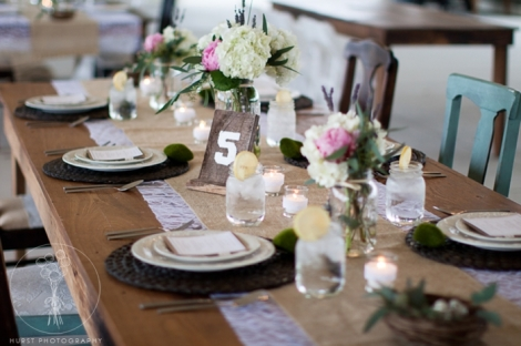 burlap lace table setting mason jars Front Porch